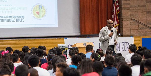 Forest Whitaker and the Domestic Harmonizer Program kickoff at Carnegie Middle School in Torrance California September 6, 2016.  Forest speaks to the students at Carnegie Middle School about conflict resolution and living peaceful.