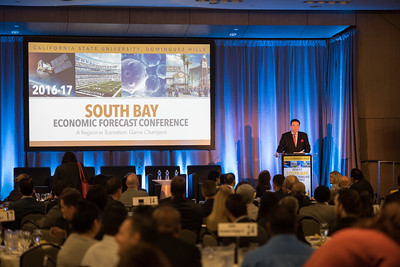 2016 South Bay Economic Forecast Conference, A region in transition, Game Changers.  Featuring Scott Alderton of Stubbs Alderton & Markiles LLP, Councilmember Joe Buscaino of Los Angeles City Council, Paul Jenkinson of Kite Pharma, Vince Deno of Millennium Space Systems, Kevin Demoff of the Los Angeles Rams, Dr. Robert Kleinhenz of Beacon Economics, Dr. Jose Martinez of CSUDH, Dr. Fynnwin Prager of CSUDH and the host Frank Mottek of KNX 1070 News Radio