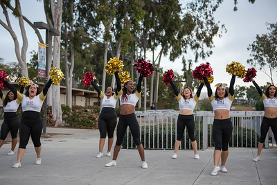 CSUDH Homecoming week festivities.  The new Teddy the Toro unveiling along with a free pancake breakfast, the Involvement Fair held on campus at California State University Dominguez Hills in Feburary 2017 Both CSUDH dance teams and cheer teams were pumping up the crowd.