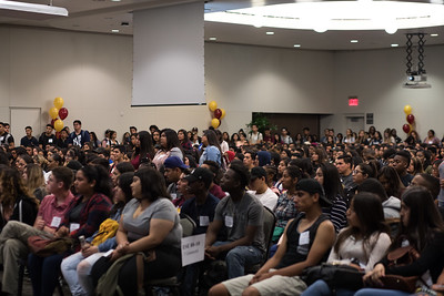 Incoming freshmen gather at new student orientation.