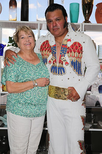 Elvis Tribute Artist Randoll Rivers poses with Nancy Korink of Centreville at the Treasure Hound in Chantilly, VA