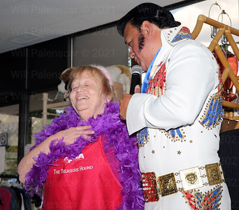 Marilyn Edwards enjoys a moment on her 65th Birthday with Elvis Tribute Artist Randoll Rivers