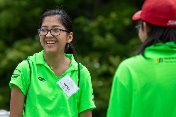 Students visit before the 25th Annual Diversity Scholarship Golf Classic. Photo by: Shelby Burgess/Strategic Communications/George Mason University