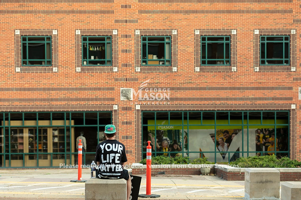 ***Editorial photos to be used for news purposes only. Not for use in marketing or advertising.  Mason community marches on campus to peacefully protest on the Fairfax campus to voice their support for Black Lives Matter.  Photo by:  Ron Aira/Creative Services/ George Mason University