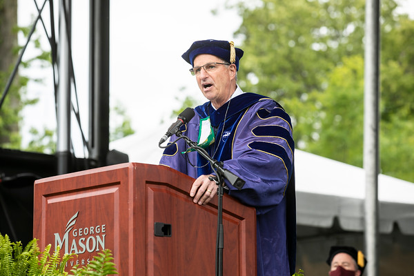 Provost and Executive Vice President Mark Ginsberg addresses graduates during the 2020 Graduate Ceremony.  Photo by:  Ron Aira/Creative Services/George Mason University
