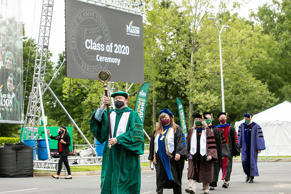 Graduates and their guests attend the 2020 Graduate Ceremony.  Photo by:  Ron Aira/Creative Services/George Mason University