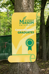 Graduation signs at soccer stadium for 2021 Procession.  Photo by:  Ron Aira/Creative Services/George Mason University