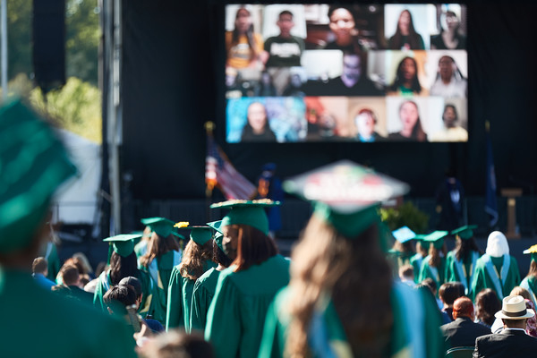 Graduates and their guests attend the 2021 College of Education and Human Development Mini Ceremony.