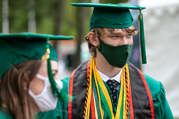Graduates attend the 2021 College of Visual and Performing Arts Mini Ceremony. Photo by: Shelby Burgess/Strategic Communications/George Mason University