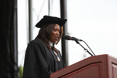 Chief Development Officer, WSP, USA, and BA Political Science '94 Denise Turner Roth presents the keynote address during the 2021 Schar School of Policy and Government Degree Celebration.