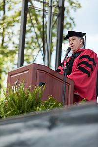 Dean Maury Peiperl speaks during the 2021 School of Business Mini Ceremony.