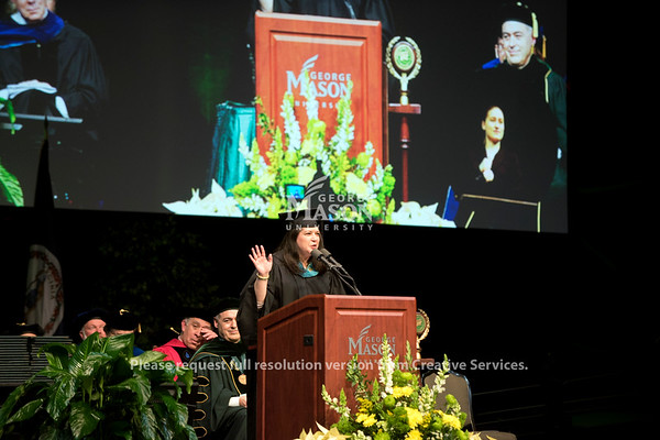 Alumni Association President Jennifer Shelton, BS Public Administration '94 gives the alumni greeting during the 2018 Winter Graduation at the Fairfax Campus.  Photo by Bethany Camp/Creative Services/George Mason University