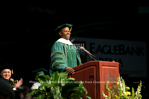 Drexel University Executive Vice President for Academic Affairs and Nina Henderson Provost M. Brian Blake gives the graduation address during the 2018 Winter Graduation at the Fairfax Campus.  Photo by Bethany Camp/Creative Services/George Mason University