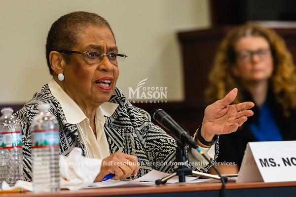 Delegate Eleanor Norton, who represents the District of Columbia in Congress, speaks during a hearing at George Mason University on the effects of the government shutdown on contract employees. Photo by Lathan Goumas/Strategic CommunicationsPhoto by Lathan Goumas/Strategic Communications