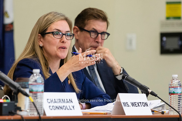 U.S. Rep. Jennifer Wexton, D-Va., speaks during a hearing at George Mason University on the effects of the government shutdown on contract employees. Photo by Lathan Goumas/Strategic CommunicationsPhoto by Lathan Goumas/Strategic Communications