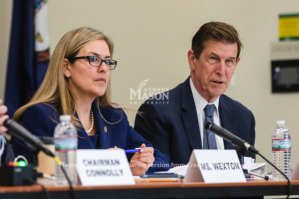 U.S. Rep. Don Beyer, D-Va., speaks during a hearing at George Mason University on the effects of the government shutdown on contract employees. Photo by Lathan Goumas/Strategic CommunicationsPhoto by Lathan Goumas/Strategic Communications