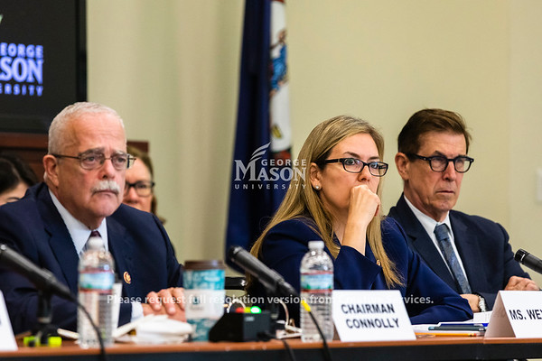 Virginia Democratic Reps. Gerald Connoly, Jennifer Wexton and Don Beyer listen during a hearing on the effects of the government shutdown on contract employees held at George Mason University. Photo by Lathan Goumas/Strategic Communications