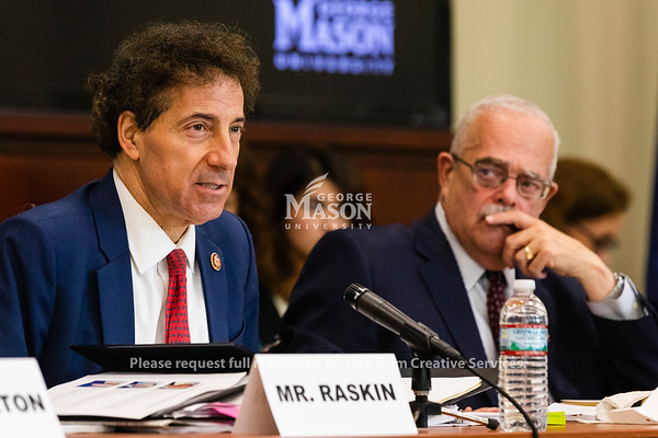 U.S. Rep. Jamie Raskin, D-Md., speaks during a hearing at George Mason University on the effects of the government shutdown on contract employees. Photo by Lathan Goumas/Strategic CommunicationsPhoto by Lathan Goumas/Strategic Communications