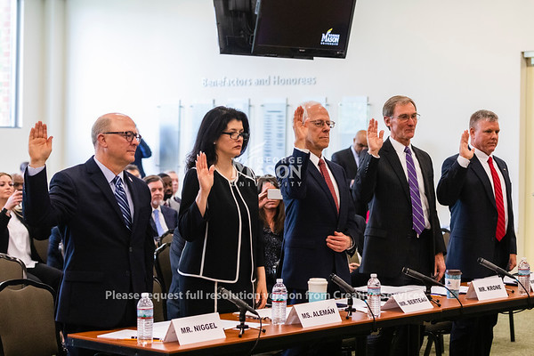 Witness are sworn in during a hearing held by U.S. Rep. Gerald Connonlly, D-Va., Chairman of the Subcommittee on Government Operations, at George Mason University on the effects of the government shutdown on contract employees. Photo by Lathan Goumas/Strategic Communications