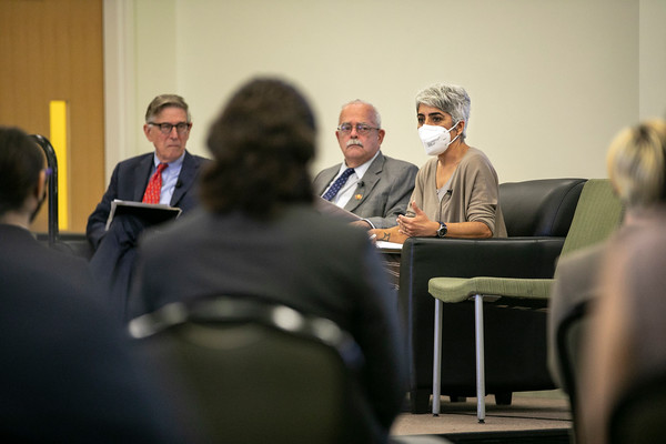 """Rep. Don Beyer, Rep. Gerry Connolly and Kiran Ahuja, Director of the Office of Personnel Management, conduct a """"fireside chat"""" with about 50 Mason students regarding careers in the Federal Government. Photo by: Shelby Burgess/Strategic Communications/George Mason University"""