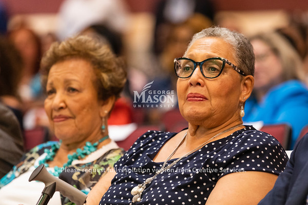 Joylette Hylick and Katherine Moore, daughters of Katherine Johnson, during a dedication ceremony renaming Bull Run Hall on George Mason's Science and Technology Campus to Katherine G. Johnson Hall in honor of the NASA mathematician. Photo by Lathan Goumas/Strategic Communications