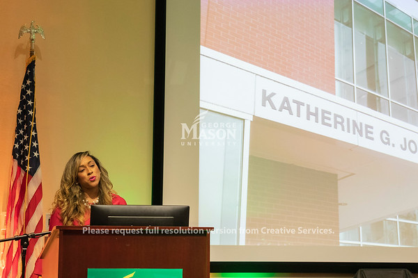 Professor Kelly Knight speaks during a dedication ceremony renaming Bull Run Hall on George Mason's Science and Technology Campus to Katherine G. Johnson Hall in honor of the NASA mathematician. Photo by Lathan Goumas/Strategic Communications