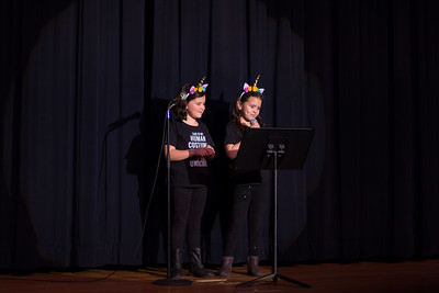 The Silly MaGillies Ava Saez and Gigi Vincentz preforming jokes
