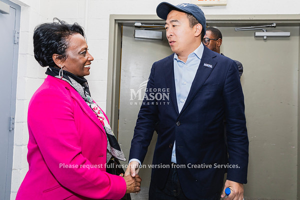 Democratic Presidential candidate Andrew Yang is greeted by chief of staff Dietra Trent before speaking at the Center for the Arts at George Mason University. Photo by Lathan Goumas/Office of Communications and Marketing   Photo Taken:Monday, November 4, 2019