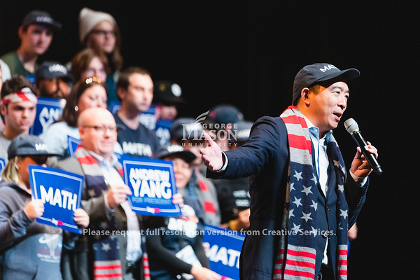 Democratic Presidential candidate Andrew Yang speaks at the Center for the Arts at George Mason University. Photo by Lathan Goumas/Office of Communications and Marketing   Photo Taken:Monday, November 4, 2019
