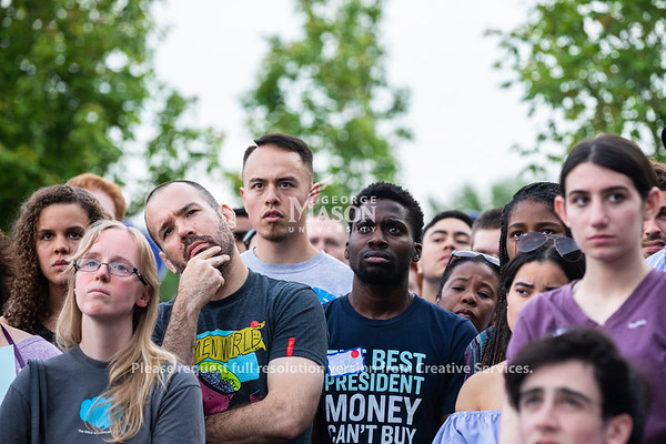 People listen as presidential candidate Sen. Elizabeth Warren, D-Mass., speaks at George Mason on Thursday, May 16, 2019. Photo by Lathan Goumas/Strategic Communications