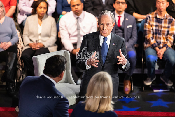 Democratic Presidential candidate Mayor Michael Bloomberg participates in a Fox News town hall at George Mason University's Hylton Performing Arts Center.    Photo by Lathan Goumas/ Office of Communications and Marketing.  Photo taken Monday, {snap} 02 2020