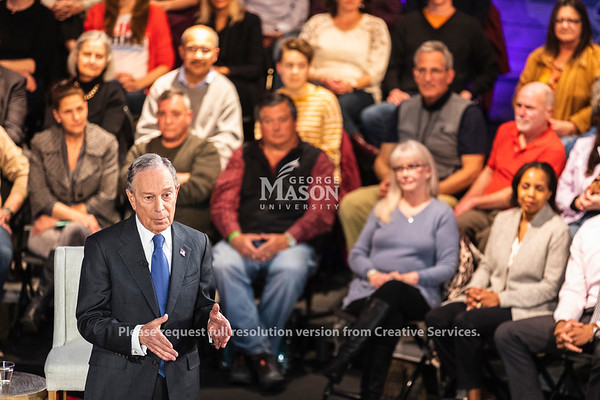 Democratic Presidential candidate Mayor Michael Bloomberg participates in a Fox News town hall at George Mason University's Hylton Performing Arts Center.    Photo by Lathan Goumas/ Office of Communications and Marketing.  Photo taken Monday, March 02 2020