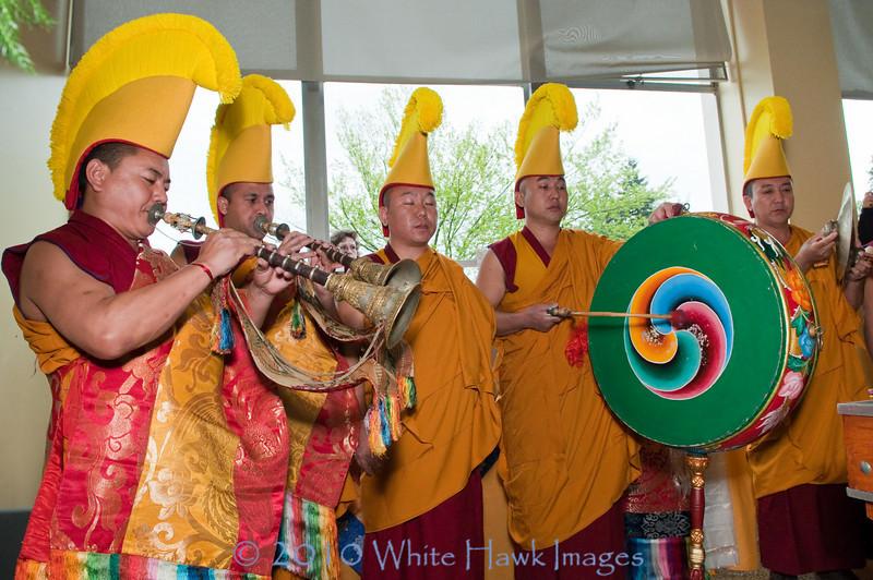 Tibetan Monks from Drepung Loseling Monastery create sacred sand mandala, at Bastyr University