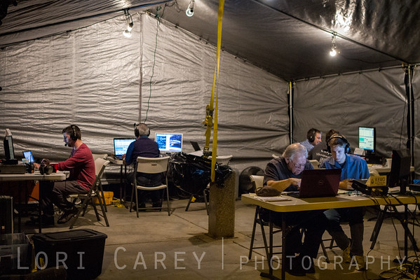 Field Day comms tent at night