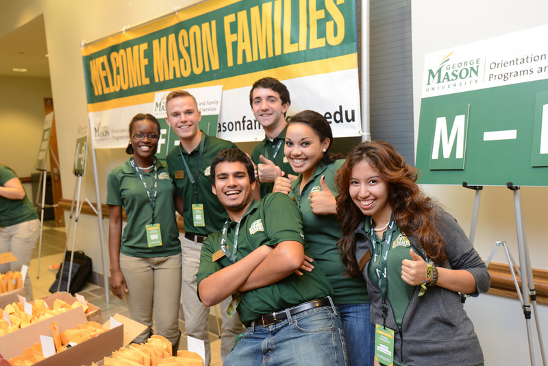 Orientation and Family Programs and Services welcome parents to campus during Family Weekend. Photo by Evan Cantwell/George Mason University