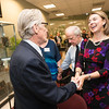 Vernon L. Smith, Nobel Laureate greets Beth Cabrera at the James M. Buchanan and Vernon L. Smith Dedication at George Mason University Arlington Campus.  Photo by:  Ron Aira/Creative Services/George Mason University