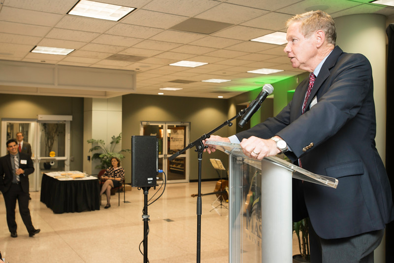 Tom Davis, Rector, at the James M. Buchanan and Vernon L. Smith Dedication at George Mason University Arlington Campus.  Photo by:  Ron Aira/Creative Services/George Mason University