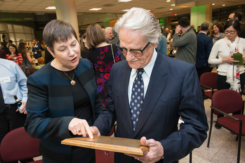 Deborah Boehm-Davis, Dean, College of Humanities and Social Sciences and Vernon L. Smith, Nobel Laureate James M. Buchanan at the Vernon L. Smith Dedication at George Mason University Arlington Campus.  Photo by:  Ron Aira/Creative Services/George Mason University