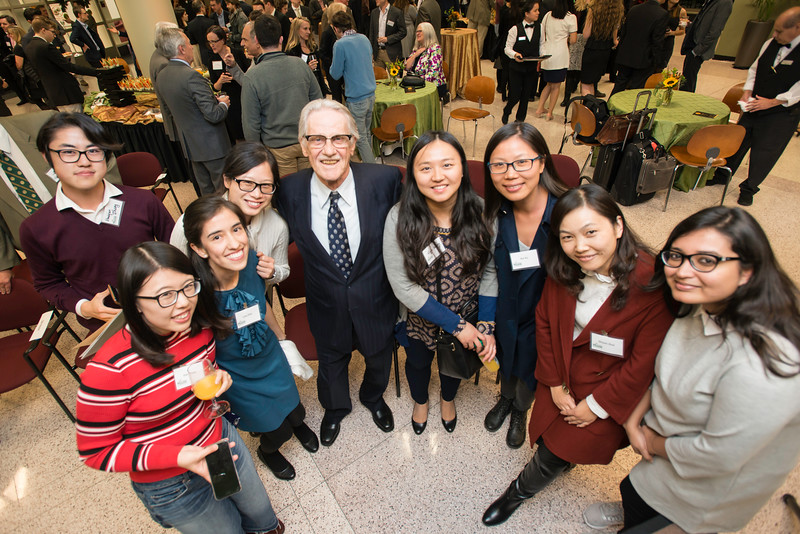 Vernon L. Smith, Nobel Laureate and ICES students at the James M. Buchanan and Vernon L. Smith Dedication at George Mason University Arlington Campus.Photo by:  Ron Aira/Creative Services/George Mason University
