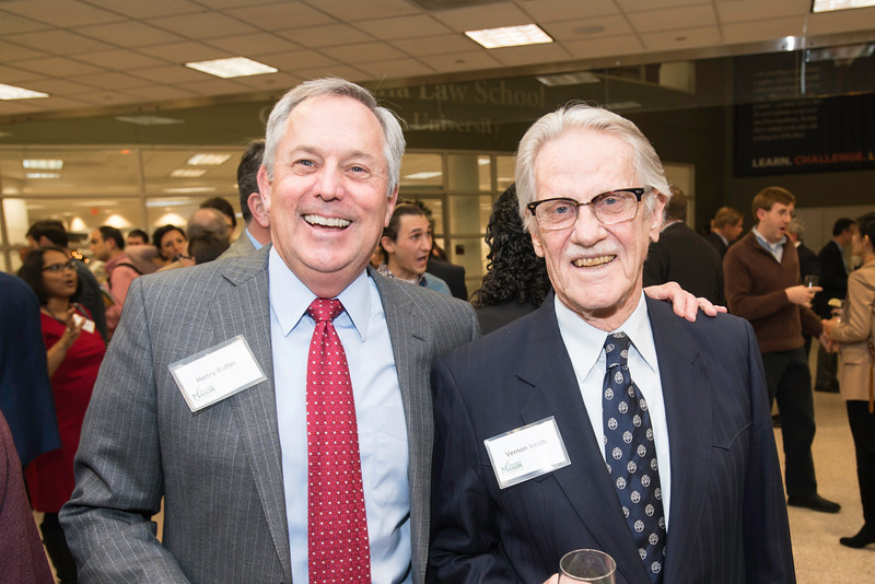 Henry N. Butler, Dean, Professor of Law, Antonin Scalia Law School and Vernon L. Smith, Nobel Laureate at the James M. Buchanan and Vernon L. Smith Dedication at George Mason University Arlington Campus.  Photo by:  Ron Aira/Creative Services/George Mason University