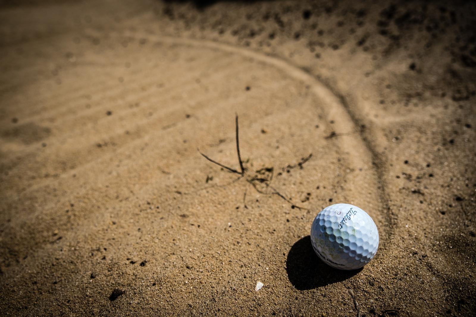 Golf Ball in a bunker