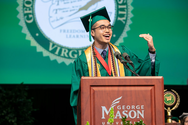 Erik Truong, BA Governemnt and International Politics delivers Student Address at Commencement 2019.  Photo by:  Ron Aira/Creative Services/George Mason University