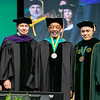 Board of Visitors Rector Tom Davis, Mason Medal winner Joseph A. Heastie, and President Ángel Cabrera during Commencement 2019.  Photo by:  Ron Aira/Creative Services/George Mason University