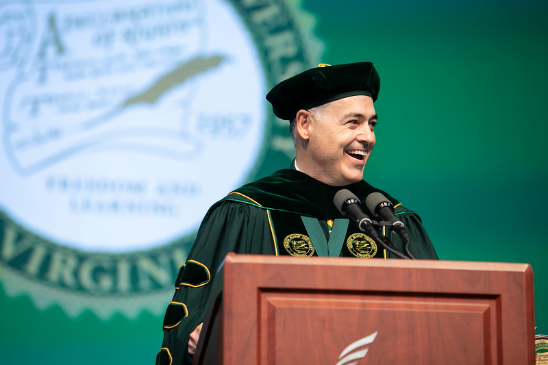 President Ángel Cabrera speaks during Commencement 2019.  Photo by:  Ron Aira/Creative Services/George Mason University