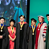 Recognized faculty Fred Bemak, Rita Chi-Ying Chung, Tyler Cowen, Christianne Esposito-Smythers, Kathleen E. Wage, pose with President Ángel Cabrera during Commencement 2019.  Photo by:  Ron Aira/Creative Services/George Mason University