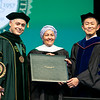 President Ángel Cabrera and Provost and Executive Vice President S. David Wu pose with Commencement speaker Deputy Secretary-General of the United Nations Amina J. Mohammed (center) during Commencement 2019.  Photo by:  Ron Aira/Creative