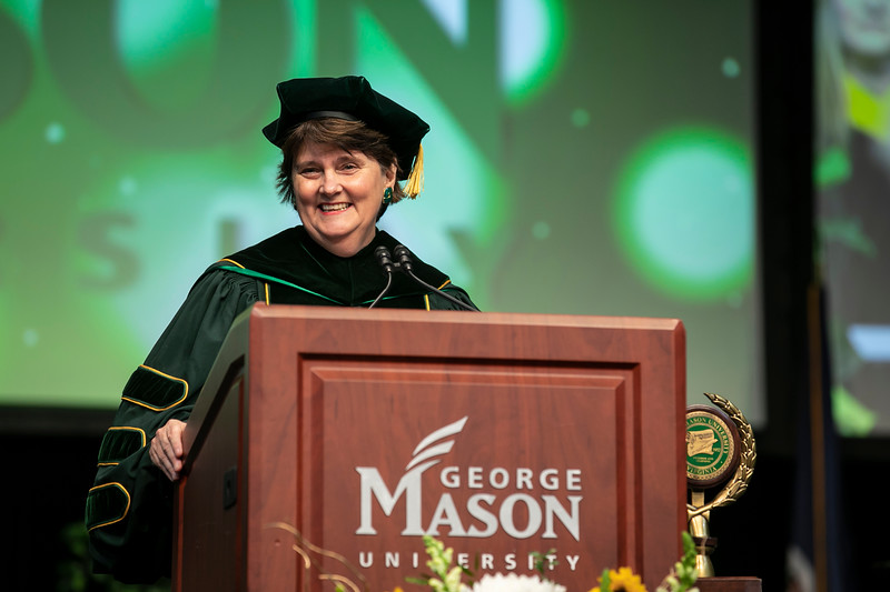 Interim President Anne Holton delivers welcoming remarks and introductions during 2019 Winter Graduation.  Photo by:  Ron Aira/Creative Services/George Mason University
