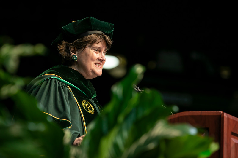 Interim President Anne Holton delivers welcoming remarks and introductions during 2018 Winter Graduation.  Photo by:  Ron Aira/Creative Services/George Mason University