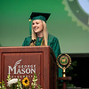 Josi Braithwaite delivers the student address during Winter Graduation 2019.  Photo by:  Ron Aira/Creative Services/George Mason University