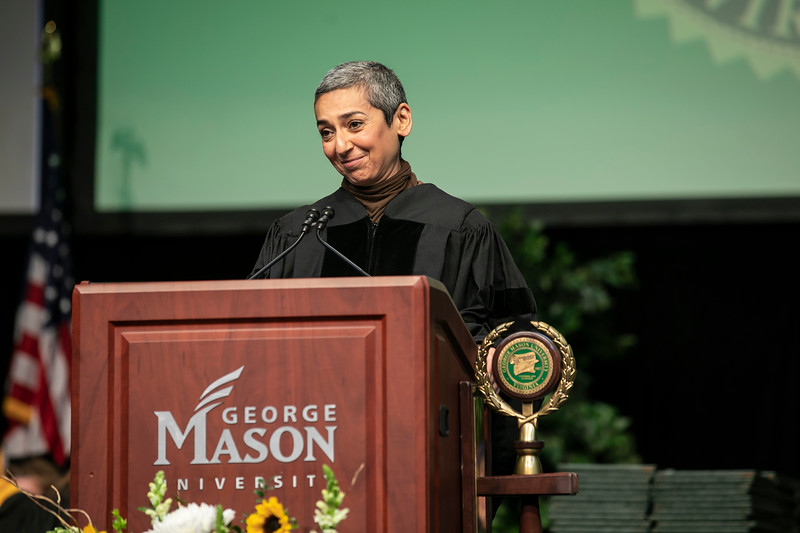 Humanitarian, author, and media host Zainab Salbi delivers the graduation address during Winter Graduation 2019.  Photo by:  Ron Aira/Creative Services/George Mason University